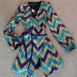 Sequins Cocktail Party Dress. Gold and blue.